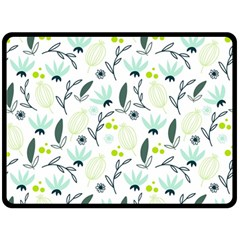 Hand drawm seamless floral pattern Double Sided Fleece Blanket (Large)