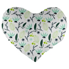 Hand drawm seamless floral pattern Large 19  Premium Flano Heart Shape Cushions