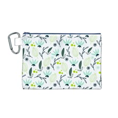 Hand drawm seamless floral pattern Canvas Cosmetic Bag (M)