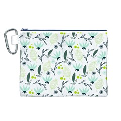 Hand drawm seamless floral pattern Canvas Cosmetic Bag (L)