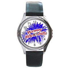 Happy 4th Of July Graphic Logo Round Metal Watch