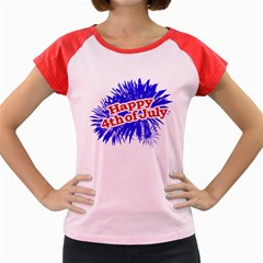 Happy 4th Of July Graphic Logo Women s Cap Sleeve T-Shirt