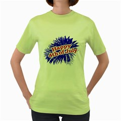 Happy 4th Of July Graphic Logo Women s Green T-Shirt