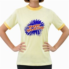 Happy 4th Of July Graphic Logo Women s Fitted Ringer T-Shirts