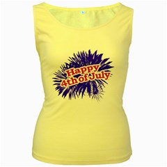 Happy 4th Of July Graphic Logo Women s Yellow Tank Top