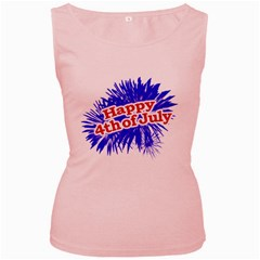 Happy 4th Of July Graphic Logo Women s Pink Tank Top