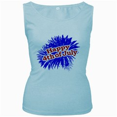 Happy 4th Of July Graphic Logo Women s Baby Blue Tank Top