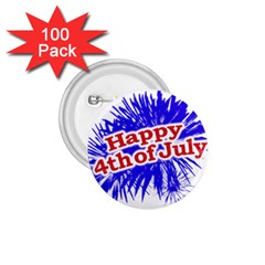 Happy 4th Of July Graphic Logo 1.75  Buttons (100 pack)