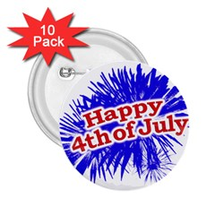 Happy 4th Of July Graphic Logo 2.25  Buttons (10 pack)