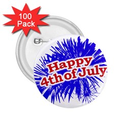 Happy 4th Of July Graphic Logo 2.25  Buttons (100 pack)