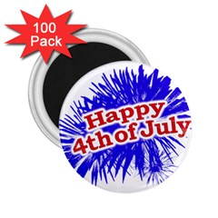 Happy 4th Of July Graphic Logo 2.25  Magnets (100 pack)