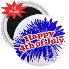 Happy 4th Of July Graphic Logo 3  Magnets (10 pack)