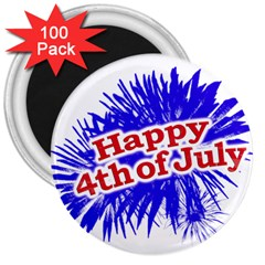 Happy 4th Of July Graphic Logo 3  Magnets (100 pack)