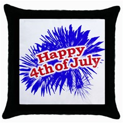 Happy 4th Of July Graphic Logo Throw Pillow Case (Black)