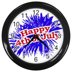 Happy 4th Of July Graphic Logo Wall Clocks (Black)