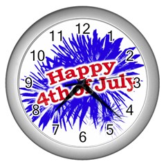 Happy 4th Of July Graphic Logo Wall Clocks (Silver)