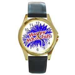 Happy 4th Of July Graphic Logo Round Gold Metal Watch
