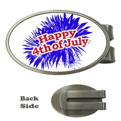 Happy 4th Of July Graphic Logo Money Clips (Oval)