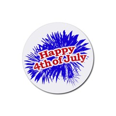 Happy 4th Of July Graphic Logo Rubber Round Coaster (4 pack)