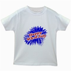 Happy 4th Of July Graphic Logo Kids White T-Shirts