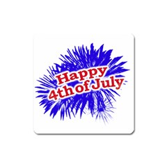 Happy 4th Of July Graphic Logo Square Magnet