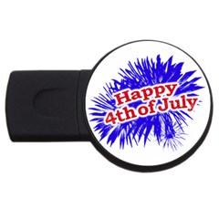 Happy 4th Of July Graphic Logo USB Flash Drive Round (1 GB)