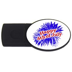 Happy 4th Of July Graphic Logo USB Flash Drive Oval (1 GB)
