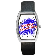 Happy 4th Of July Graphic Logo Barrel Style Metal Watch