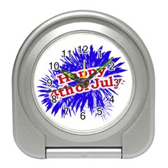 Happy 4th Of July Graphic Logo Travel Alarm Clocks