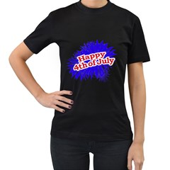 Happy 4th Of July Graphic Logo Women s T-Shirt (Black) (Two Sided)