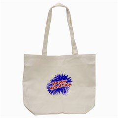 Happy 4th Of July Graphic Logo Tote Bag (Cream)