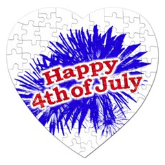 Happy 4th Of July Graphic Logo Jigsaw Puzzle (Heart)