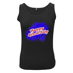 Happy 4th Of July Graphic Logo Women s Black Tank Top