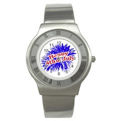 Happy 4th Of July Graphic Logo Stainless Steel Watch