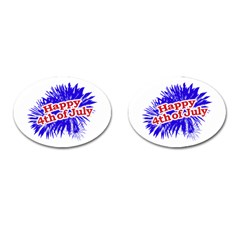 Happy 4th Of July Graphic Logo Cufflinks (Oval)