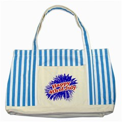 Happy 4th Of July Graphic Logo Striped Blue Tote Bag