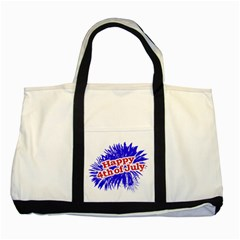 Happy 4th Of July Graphic Logo Two Tone Tote Bag