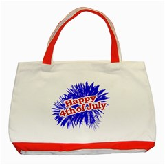 Happy 4th Of July Graphic Logo Classic Tote Bag (Red)