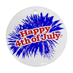 Happy 4th Of July Graphic Logo Round Ornament (Two Sides)