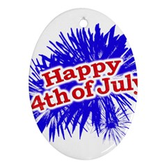 Happy 4th Of July Graphic Logo Oval Ornament (Two Sides)