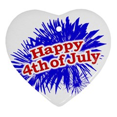 Happy 4th Of July Graphic Logo Heart Ornament (Two Sides)