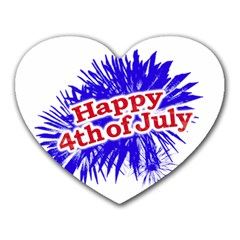 Happy 4th Of July Graphic Logo Heart Mousepads