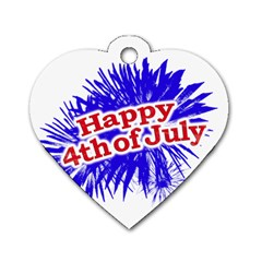 Happy 4th Of July Graphic Logo Dog Tag Heart (Two Sides)