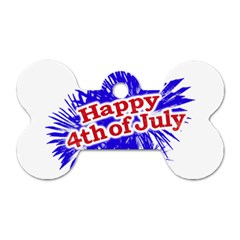 Happy 4th Of July Graphic Logo Dog Tag Bone (Two Sides)