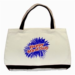 Happy 4th Of July Graphic Logo Basic Tote Bag (Two Sides)