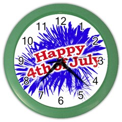 Happy 4th Of July Graphic Logo Color Wall Clocks