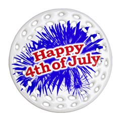Happy 4th Of July Graphic Logo Round Filigree Ornament (Two Sides)