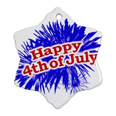 Happy 4th Of July Graphic Logo Snowflake Ornament (Two Sides)