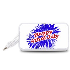 Happy 4th Of July Graphic Logo Portable Speaker (White)