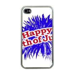 Happy 4th Of July Graphic Logo Apple iPhone 4 Case (Clear)